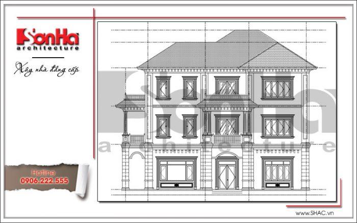 Mặt đứng ngang bên trái biệt thự tân cổ điển đẹp tại Quảng Bình sh btp 0099
