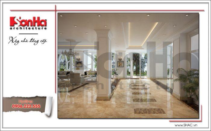 Mẫu thiết kế nội thất sảnh tiếp khách khách sạn cổ điển sh ks 0033