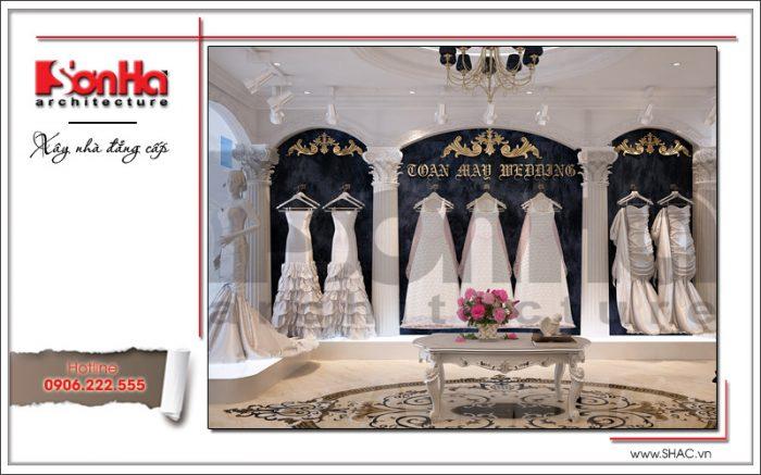 Mẫu thiết kế nội thất phòng kinh doanh váy cưới tầng lửng tại Hưng Yên