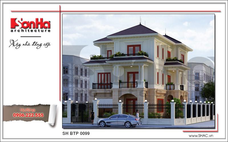 Thiết kế biệt thự 3 tầng tân cổ điển đẹp tại Quảng Bình - SH BTP 0099 2