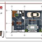 Mặt bằng công năng tầng 1 nhà phố tân cổ điển Pháp 3 tầng tại Hải Phòng sh nop 0137
