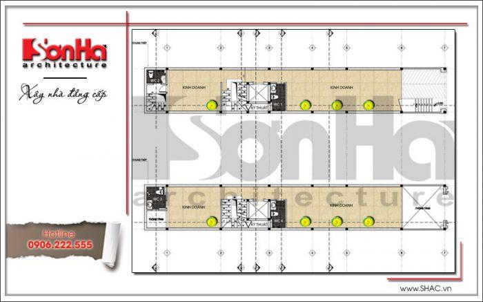 Mặt bằng công năng tầng trệt tầng 1 nhà phố 7 tầng tại Sài Gòn sh nop 0136