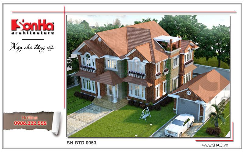 Thiết kế kiến trúc biệt thự hiện đại 2 tầng tại Quảng Bình sh btd 0053