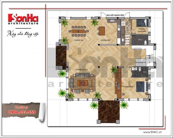 Mặt bằng công năng tầng 1 biệt thự hiện đại 2 tầng tại Quảng Bình sh btd 0053