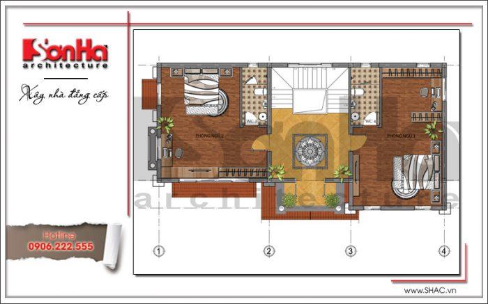 Bản vẽ mặt bằng công năng tầng 2 của ngôi biệt thự 3 tầng kiến trúc hiện đại tại Hà Nội