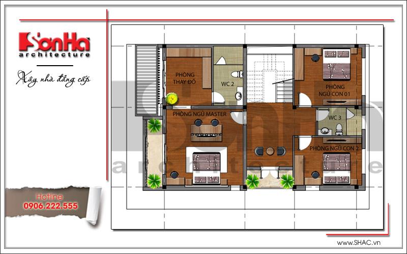 Mẫu biệt thự 3 tầng hiện đại thiết kế đẹp tại Quảng Ninh – SH BTD 0054 6