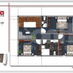 Mặt bằng công năng tầng 2 nhà phố tân cổ điển Pháp 3 tầng tại Hải Phòng sh nop 0137