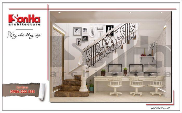 Mẫu thiết kế nội thất khu làm việc và sảnh thang tại Hưng Yên