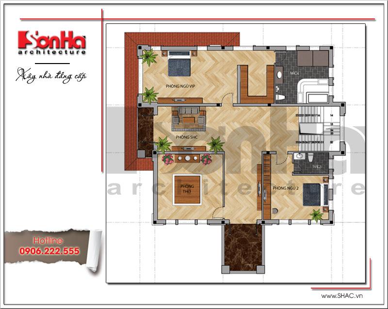 Mặt bằng công năng tầng 2 biệt thự hiện đại 2 tầng tại Quảng Bình sh btd 0053