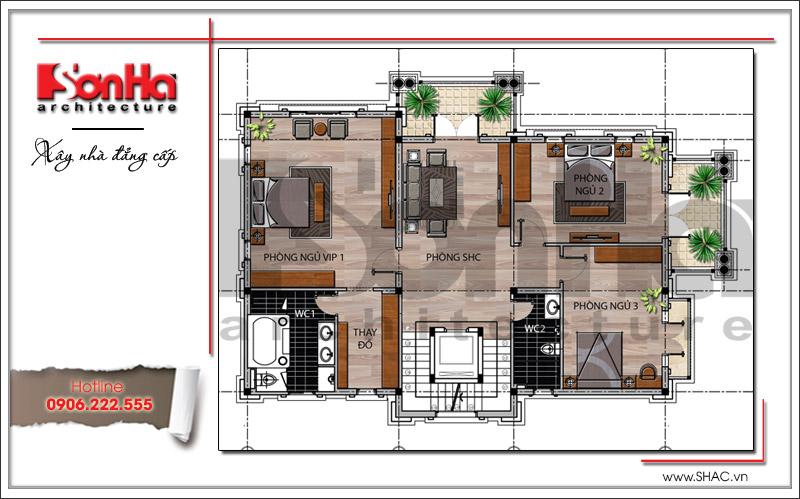 Thiết kế biệt thự 3 tầng tân cổ điển đẹp tại Quảng Bình - SH BTP 0099 17