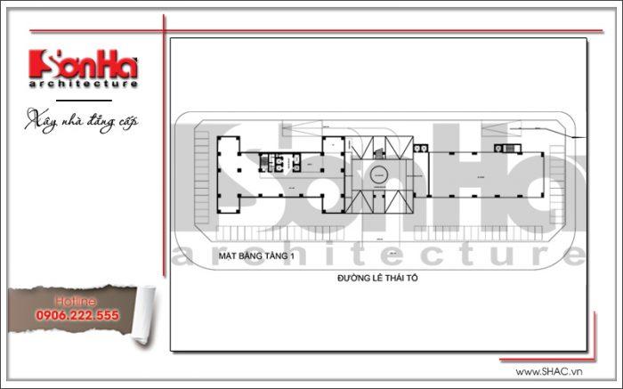 Mặt bằng điển hình tầng 1 khách sạn 4 sao tại Bắc Ninh sh ks 0034
