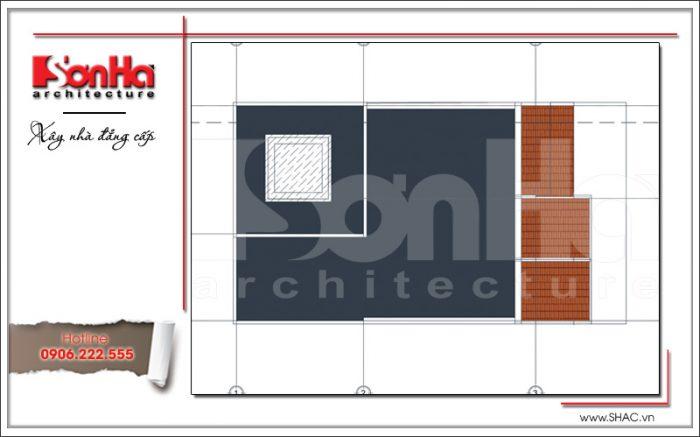 Mặt bằng công năng tầng mái nhà phố tân cổ điển Pháp 3 tầng tại Hải Phòng sh nop 0137
