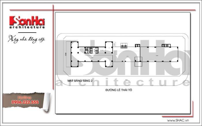 Mặt bằng điển hình tầng 2 khách sạn 4 sao tại Bắc Ninh sh ks 0034