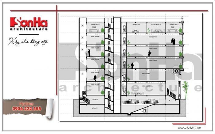 Mặt cắt nhà phố 7 tầng tại Sài Gòn sh nop 0136