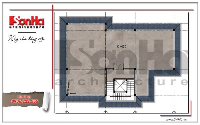 Mặt bằng công năng tầng áp mái biệt thự tân cổ điển đẹp tại Quảng Bình sh btp 0099