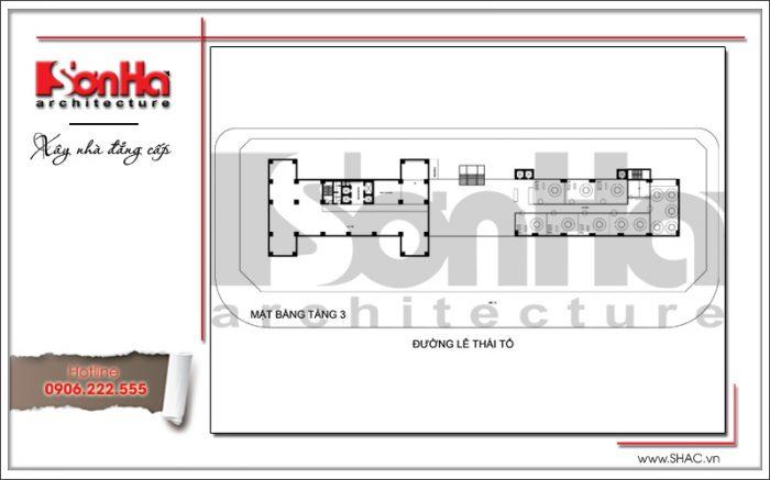 Mặt bằng điển hình tầng 3 khách sạn 4 sao tại Bắc Ninh sh ks 0034