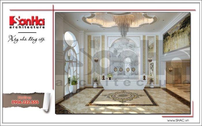 Thiết kế nội thất khu lễ tân khách sạn cổ điển sh ks 0033