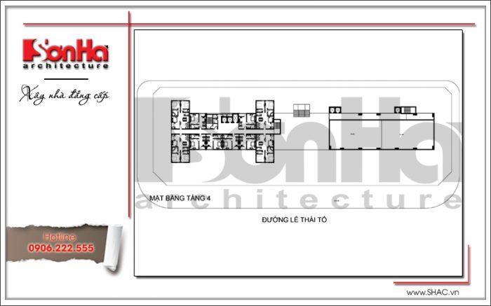 Mặt bằng điển hình tầng 4 khách sạn 4 sao tại Bắc Ninh sh ks 0034