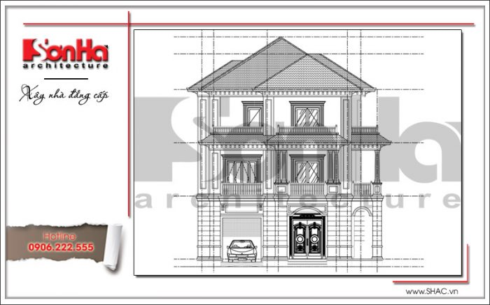 Mặt đứng chính biệt thự tân cổ điển đẹp tại Quảng Bình sh btp 0099