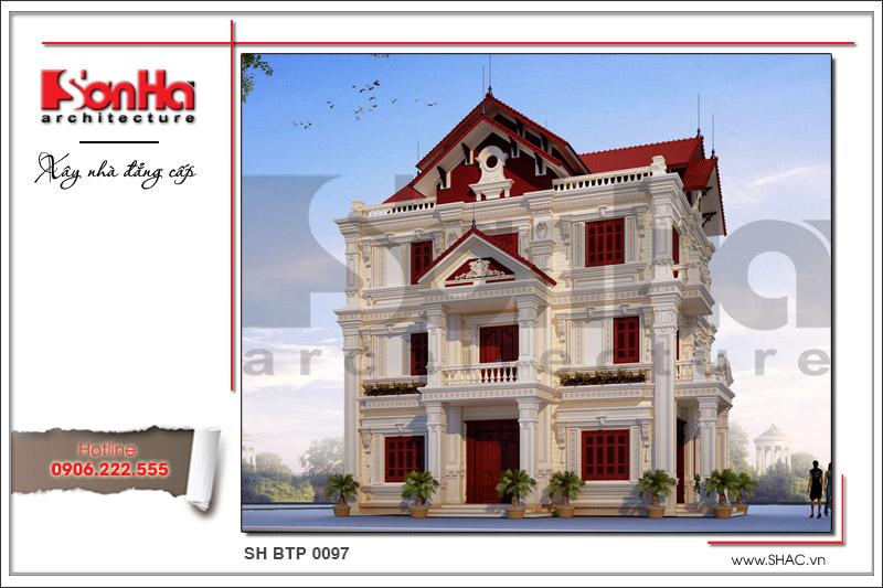 Thiết kế biệt thự cổ điển Pháp 3 tầng sang trọng tại Hải Dương sh btp 0097