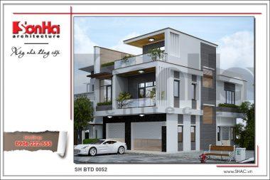 BÌA Thiết kế kiến trúc biệt thự hiện đại 3 tầng tại Hải Phòng sh btd 0052