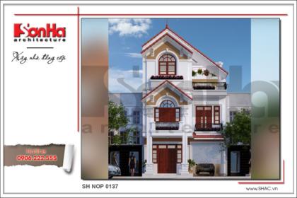 BÌA Kiến trúc nhà phố tân cổ điển Pháp 3 tầng tại Hải Phòng sh nop 0137
