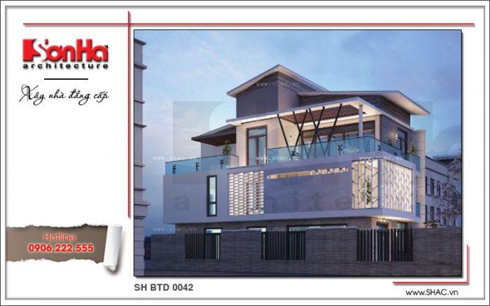 Kiến trúc của ngôi biệt thự kiến trúc hiện đại thiết kế 3 tầng được đánh giá cao bởi sự sang trọng
