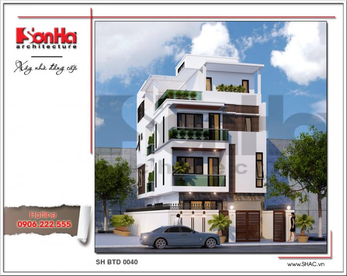 Mẫu thiết kế biệt thự 4 tầng mặt tiền 8m hiện đại trẻ trung được đề xuất cho CĐT Hưng Yên