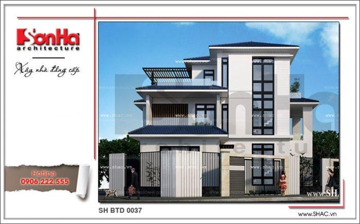 Thiết kế biệt thự 3 tầng diện tích 150m2 hiện đại với đường nét khoáng đạt và khá ấn tượng