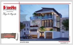 Biệt thự 3 tầng hiện đại và trẻ trung sh btd 0036 2