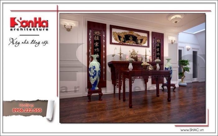Mẫu thiết kế nội thất phòng thờ biệt thự Pháp tại Hà Nội sh btp 0102
