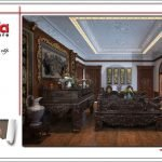 Thiết kế nội thất phòng thờ biệt thự lâu đài tại Hà Nội sh btld 0025