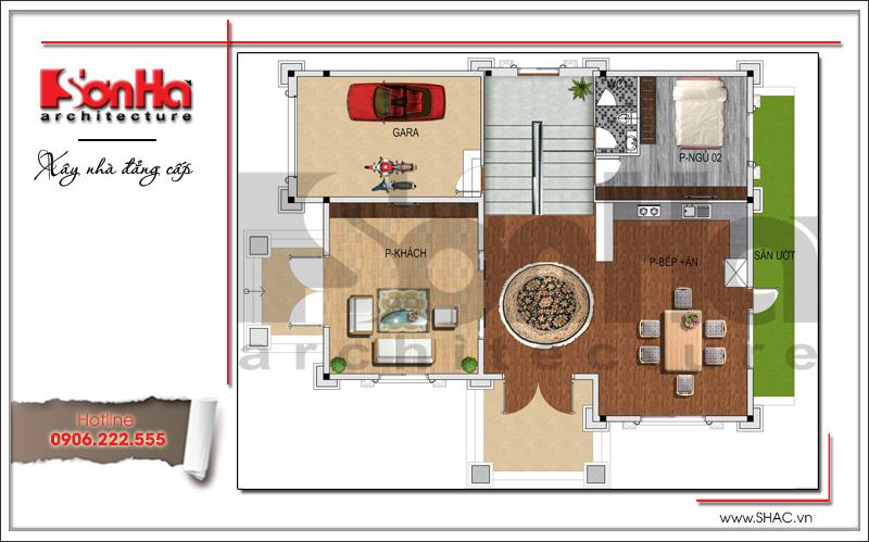 Bản vẽ mặt bằng công năng tầng 1: Gara phòng ngủ, phòng khách và bếp ăn