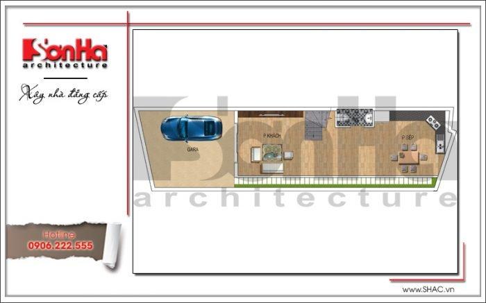 Mặt bằng công năng tầng 1 nhà ống hiện đại 4 tầng tại Lạng Sơn SH NOD 0167
