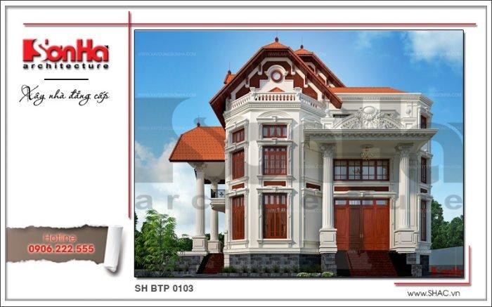 Kiến trúc mặt tiền biệt thự Pháp 3 tầng tại Biên Hòa sh btp 0103