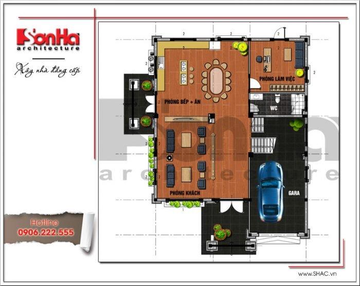 Mặt bằng công năng tầng 1 biệt thự tân cổ điển tại Hải Phòng sh btp 0101