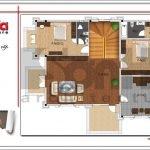 Mặt bằng công năng tầng 2 biệt thự hiện đại tại Quảng Bình btd 0055