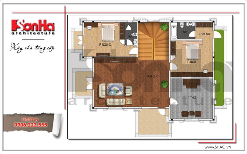 Bản vẽ mặt bằng công năng tầng 2: Hai phòng ngủ, phòng ính hoạt chung và phòng thờ