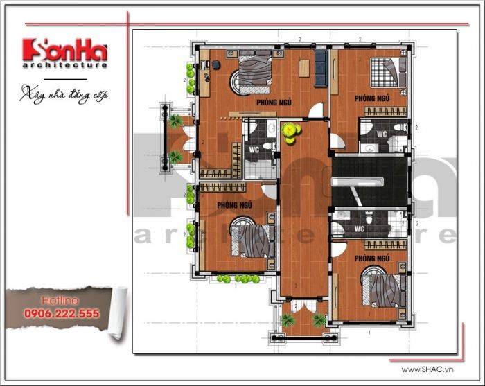 Mặt bằng công năng tầng 2 biệt thự tân cổ điển tại Hải Phòng sh btp 0101