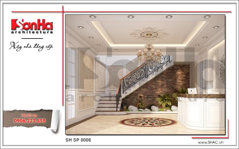 Thiết kế nội thất sảnh thang tầng 1 spa tại Phú Quốc sh sp 0006