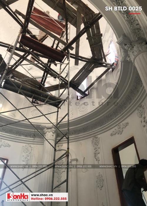 5 Ảnh thực tế thi công nội thất biệt thự lâu đài 4 tầng tại hà nội sh btld 0025