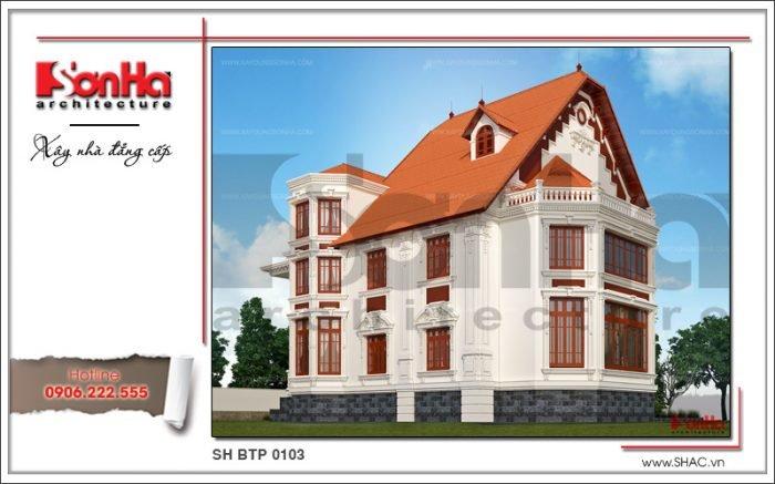 Mẫu thiết kế biệt thự Pháp 3 tầng tại Biên Hòa sh btp 0103