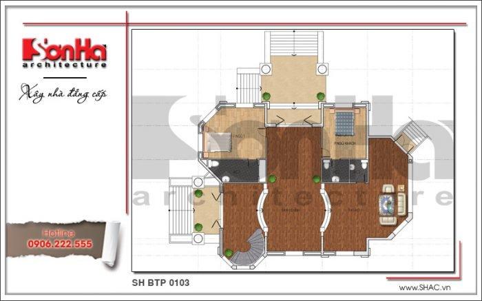 Mặt bằng công năng tầng 1 biệt thự Pháp 3 tầng tại Biên Hòa sh btp 0103