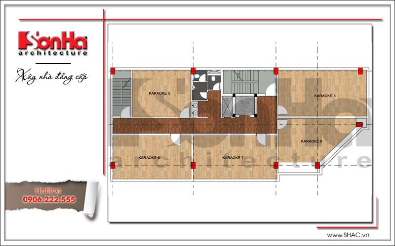 Thiết kế kiến trúc quán karaoke 7 tầng tại Vĩnh Phúc - SH BCK 0044 15