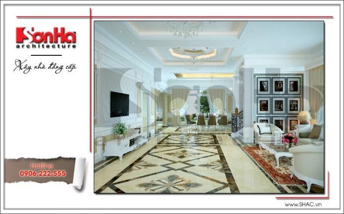 Mẫu thiết kế nội thất phòng khách biệt thự Pháp tại Hà Nội sh btp0102