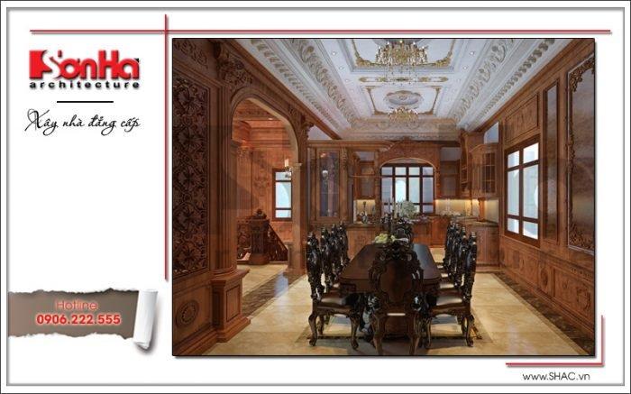 mẫu phòng ăn bằng gỗ cổ điển vương giả