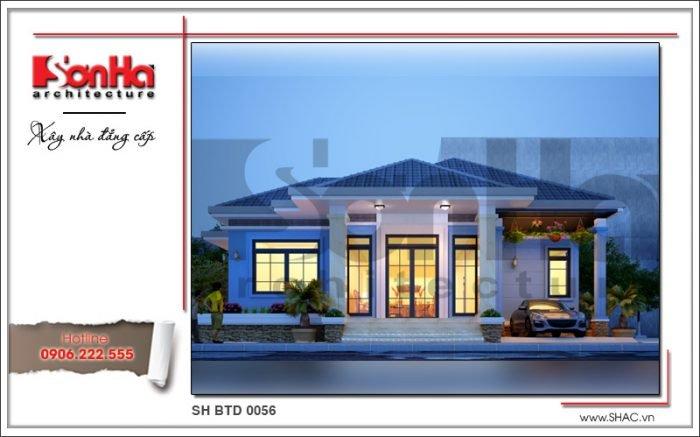 Phương án thiết kế biệt thự mini 1 tầng ấn tượng với mái ngói màu xanh tinh tế