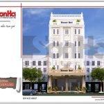 Thiết kế kiến trúc mặt tiền khách sạn tại Quảng Ninh sh ks 0037