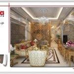 Mẫu Thiết kế nội thất phòng khách nhà ống cổ điển tại Quảng Ninh sh nop 0141
