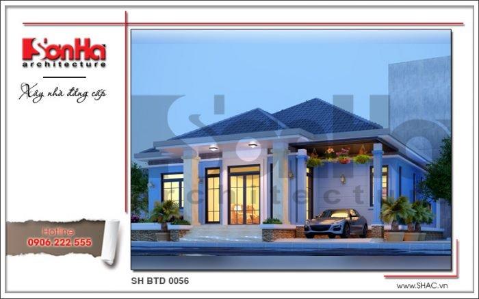 Mẫu biệt thự 1 tầng hiện đại tại Bắc Ninh sh btd 0056